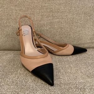 Zara Tan Mesh Slingback Kitten Heel Pump Black Toe